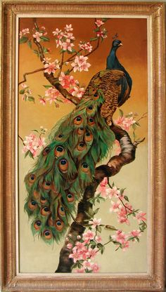 "British 19th century paintings ""Peacock on a Branch"""