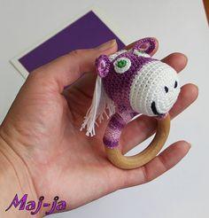 """Crochet  toy - rattle """"Purple Horse"""" , 15 usd"""