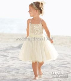 Wholesale Flower Girls' Dresses - Buy New Arrival 2 4 Years Old A-Line Spaghetti Knee Length Tulle White Flower Girl Dress Children Bridesmaid Dresses Q6167, $45.33 | DHgate