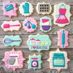 Adorable set of baking themed decorated cookies - by Banana Bakery Fancy Cookies, Iced Cookies, Cute Cookies, No Bake Cookies, Cupcake Cookies, Cookies Et Biscuits, Baking Cookies, Sugar Cookies, Baking Party
