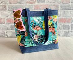 Eco Friendly Fashion, Denim Cotton, Flamingo Print, Sustainable Fabrics, Palm Print, Tote Handbags, Blue Denim, Totes, Community
