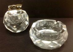 Multi faceted cut glass light ashtray set by BIGSAMSmokeShoppe, $65.00