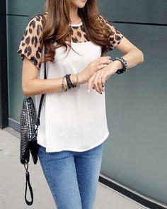 leopard-print-splicing-fashionable-jewel-neck-short-sleeve-women-s-t-shirt-white-2247-500x500.jpg (400×500)