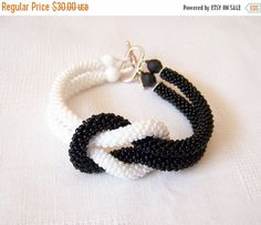 15% SALE Beadwork  Bead Crochet Bracelet in black and white