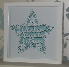 These new baby paper cuts are simply beautiful and the extensive range of colour choices ensures they are perfect for any home.  They make the perfect new baby or christening gifts.  They are floating at the front of a 10x10inch box frame and cast a beautiful shadow on the backing paper behind (especially the pearlescent backings)  Please provide name(s), date of birth, birth weight and birth time (you can have less details on there if you want) at the point of ordering and please note it…