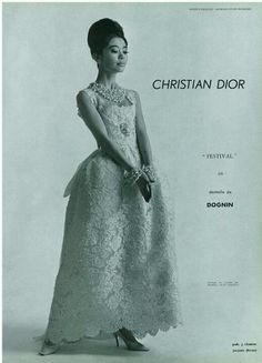 Christian Dior lace gown with panniers 1961