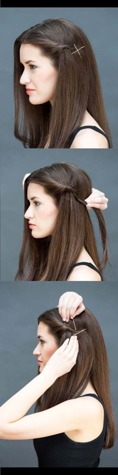 Quick and Easy Hairstyles for Straight Hair - The Twist-and-Pin - Popular Haircuts and Simple Step By Step Tutorials and Ideas for Half Up, Short Bobs, Long Hair, Medium Lengths Hair, Braids, Pony Tails, Messy Buns, And Ideas For Tools Like Flat Irons and Bobby Pins. These Work For Blondes, Brunettes, Twists, and Beachy Waves - https://thegoddess.com/easy-hairstyles-straight-hair
