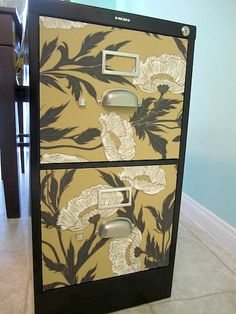 A little Mod Podge and decorative paper made this file cabinet awesome