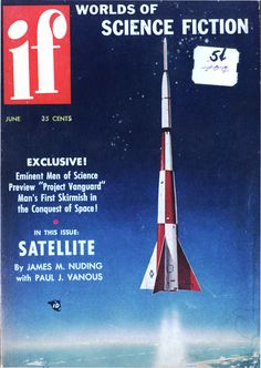 "If vol 6 no 4, June 1956. Cover art by Mel Hunter titled ""Three-Stage Satellite Rocket."""