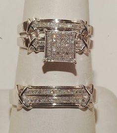 Mens Womens 1.00CT Sapphire Wedding Band Engagement Bridal Ring 3Pcs Trio Set #RegaaliaJewels #TrioRingSet