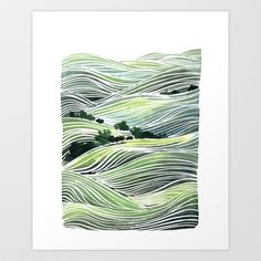 Landscape Green Hills Painting Art Print by Yao Cheng Design - 22x26, $40.00