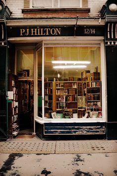 "bookoasis: "" P. J. Hilton Books, antiquarian bookshop in London. (Photo by ellaapgale) """