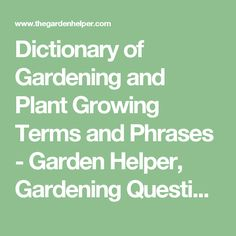 Dictionary Of Gardening And Plant Growing Terms Phrases Garden Helper Questions