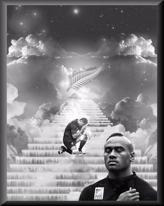 """2015 All Blacks rugby - Rest in Peace Jerry Collins & Jonah Lomu """"Stairway to Heaven"""" poster created by Gordon Tunstall using Adobe Photoshop & Corel Paintshop Pro - 2015"""