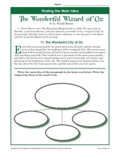 Telling Time Worksheets In Spanish Pdf Main Idea And Supporting Details Rd  Th Grade Worksheet  Where The Wild Things Are Worksheets Pdf with Positive Self Talk Worksheet Th Grade Main Idea Worksheet About The Wonderful Wizard Of Oz Oval Worksheets For Preschool