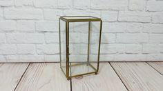 Vintage Brass Vitrine Glass Display Case Shelf Jewelry Box