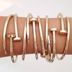Stainless Steel Nail Style Love Bangle Bracelet - Lyfie