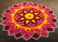 Happy Diwali Rangoli Idea Source by Rangoli Designs 2016, Easy Rangoli Designs Diwali, Indian Rangoli Designs, Simple Rangoli Designs Images, Rangoli Designs Flower, Free Hand Rangoli Design, Rangoli Border Designs, Rangoli Patterns, Colorful Rangoli Designs