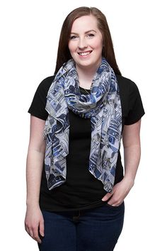 This R2-D2 Lightweight Scarf features a blue and grey pattern made from Artoo's panels.