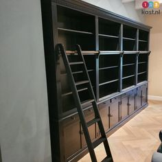 4 meter rural bookcase, Beautiful attractive large bookcase with ladder in black. Home Interior Design, Interior Styling, Large Bookcase, Black Bookcase, Library Wall, Library Cabinet, Bookshelves In Living Room, Luxury Shop, Other Rooms