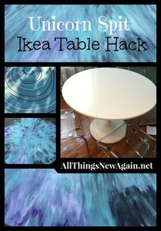 Unicorn Spit Ikea Table Hack ~ Transform an ordinary Ikea table with Unicorn Spit non-toxic rainbow gel stain and glaze. We'll show you how! ~ All Things New Again, Leesburg, VA ~ www.allthingsnewagain.net