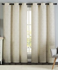 Look at this #zulilyfind! Ivory Lawrence Geometric Jacquard Curtain Panel - Set of Two #zulilyfinds