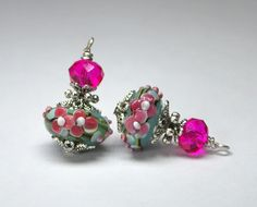 2 Blue Grey Background with Raised Hot Pink Flowers Lampwork Bead Dangles or Earrings-Handmade Bead Dangles 15mm Murano Rondelle Glass Beads by goldcountrydangles on Etsy