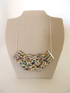 Liberty Art Fabrics rope necklace, in Mias Island tana lawn, handmade by Bunny Bosworth.