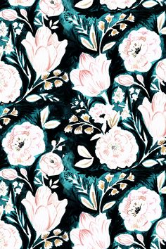 Luna Floral by Crystal_Walen - Hand drawn and painted floral pattern on fabric, wallpaper and gift wrap. Light pastel florals with a deep dark background in emerald and dark green. Perfect for a bold wallpaper reno, dinner napkins, or an accent throw pillow! #homedecor #diydecor #diyhome #contrast #design #floral