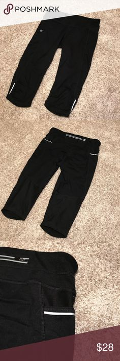 """Athletica Black Leggings - knee length Athletica leggings (with SIDE POCKETS!!)— black, 16"""" inseam, 24"""" from top to bottom, size S;   Also see Lululemon black leggings, 16"""" inseam, 24"""" from top to bottom, size 4.  Less than $20 per pair if you bundle! EUC. Great shape. 3 pairs of workout Capri leggings—check my closet. lululemon athletica Pants Leggings"""