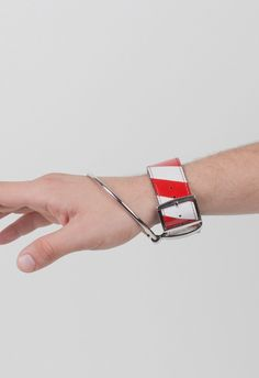 Raf Simons Left Wrist Big Ring Bracelet Ecru Red – Voo Store