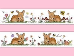 Deer Fawn Wallpaper Border Decal Wall Art Girl Woodland Animal Nursery Stickers #decampstudios