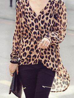 3c25385b7 Fashion Mature Casual Loose Leopard Print Long Sleeve Blouse