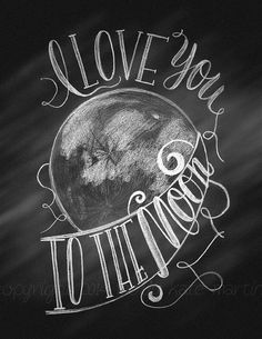 Hand Letter Digital Instant Download Printable Poster Chalkboard Quote I Love You To The Moon Art Poster Illustration