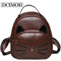 Special price DCIMOR Design PU Leather Backpack Women Backpacks For Teenage Girls School Bags Lady's Small Vintage Cat Backpacks Travel Bags just only $15.84 with free shipping worldwide  #womanbackpacks Plese click on picture to see our special price for you
