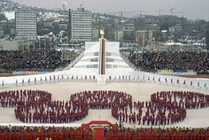 Presentation at 1984 Winter Olympics, officially known as the XIV Olympic Winter Games in Sarajevo, Yugoslavia - present-day Bosnia and Herzegovina.