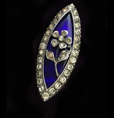 A Magnificent Rare Georgian Paste & Blue glass Navette