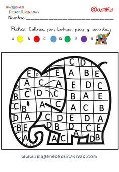 color by number Letter Activities, Work Activities, Preschool Activities, Elmer The Elephants, All About Me Preschool, Beginning Of Kindergarten, Montessori Materials, Creative Thinking, Teaching Math