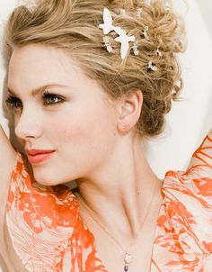 Taylor Swift for Seventeen May 2009 outtake - dove and rhinestone hair clips