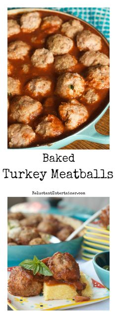Baked Turkey Meatballs at ReluctantEntertainer.com
