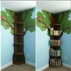 Tree Bookshelf This is simple enough. then could add fake leaves flowers fairy lights etc The post Tree Bookshelf This is simple enough. then could add fake leaves flowers fairy lights etc appeared first on Children's Room.