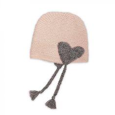 Les tricots de mamy - Bonnet bébé rose filles tricoté main au point mousse. Laine 100% alpaga. Mamy Factory