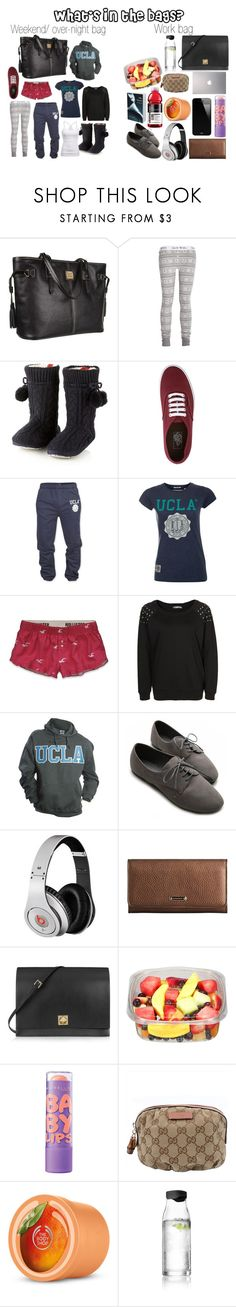 """""""What's in the bags?"""" by karolinebhn ❤ liked on Polyvore featuring Dooney & Bourke, Jack Wills, Iris & Edie, Vans, American Eagle Outfitters, Hollister Co., Soaked in Luxury, Ollio, Monster and Burberry"""