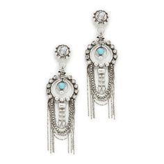 DANNIJO Monterosso Earrings (1.360 BRL) ❤ liked on Polyvore featuring jewelry, earrings, silver plated earrings, fringe earrings, beaded earrings, chain earrings and chain fringe earrings