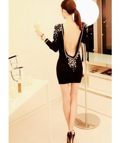 Designer Sexy Back Club Dress with Pearls - DRESSEES - WOMEN'S CLOTHING