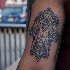 Elephant hamsa from a while ago. #kamikaze #tattoo #rochesterny #elephant #hamsa #bwplague