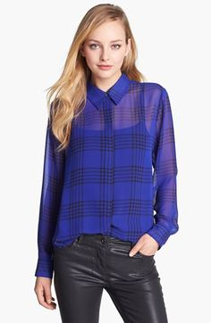 Vince Camuto Plaid Chiffon Blouse (Online Only) available at #Nordstrom