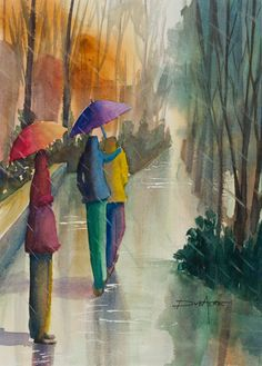 """Fine Art Giclee Print 10x7- From original watercolour painting- """"À nos parapluies"""" on Etsy, 37,61€"""
