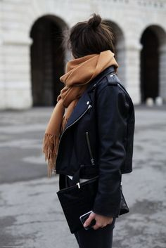 jacket perfecto scarf camel bag streetstyle winter outfits fall outfits black leather jacket all black everything outfit idea