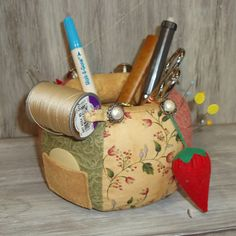 Pincushion Caddy Catchall Portable Sewing by SewManyPrims on Etsy